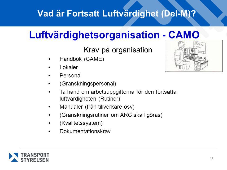 12 Vad är Fortsatt Luftvärdighet (Del-M)? Luftvärdighetsorganisation - CAMO Krav på organisation •Handbok (CAME) •Lokaler •Personal •(Granskningsperso