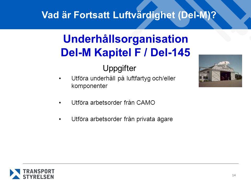 14 Underhållsorganisation Del-M Kapitel F / Del-145 Uppgifter •Utföra underhåll på luftfartyg och/eller komponenter •Utföra arbetsorder från CAMO •Utf