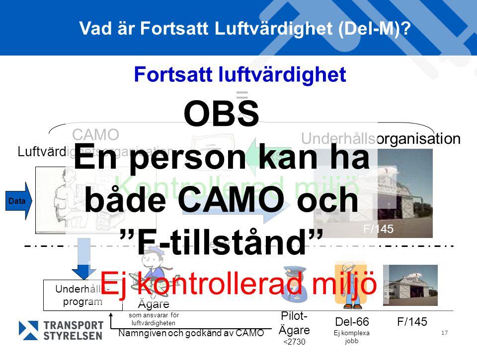 17 Fortsatt luftvärdighet Underhållsorganisation CAMO Luftvärdighetsorganisation = Vad är Fortsatt Luftvärdighet (Del-M)? CRS Arbetsorder eller Ägare