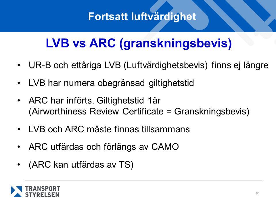 18 •UR-B och ettåriga LVB (Luftvärdighetsbevis) finns ej längre •LVB har numera obegränsad giltighetstid •ARC har införts. Giltighetstid 1år (Airworth