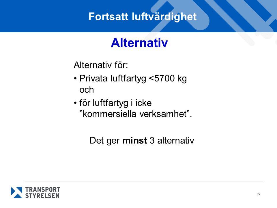 """19 Alternativ Alternativ för: •Privata luftfartyg <5700 kg och •för luftfartyg i icke """"kommersiella verksamhet"""". Det ger minst 3 alternativ Fortsatt l"""