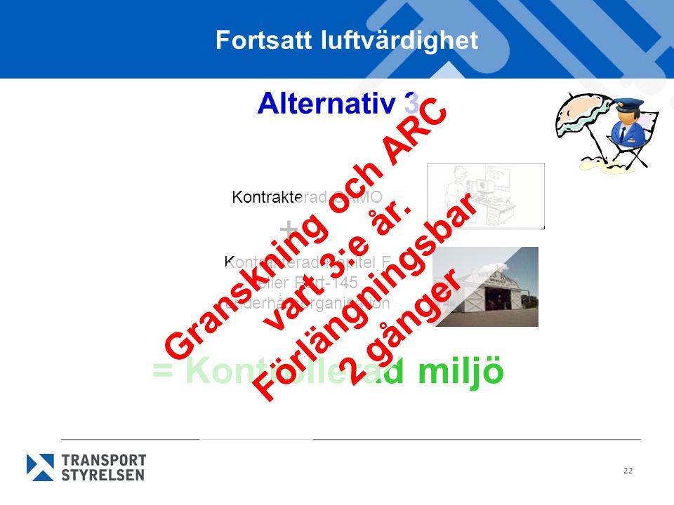 22 Alternativ 3 Kontrakterad CAMO Kontrakterad Kapitel F eller Part-145 underhållsorganisation + = Kontrollerad miljö Fortsatt luftvärdighet Gransknin