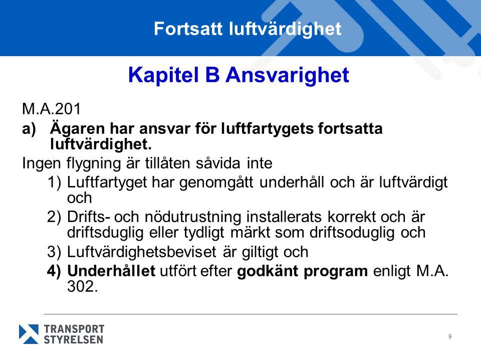 9 Kapitel B Ansvarighet M.A.201 a)Ägaren har ansvar för luftfartygets fortsatta luftvärdighet. Ingen flygning är tillåten såvida inte 1)Luftfartyget h