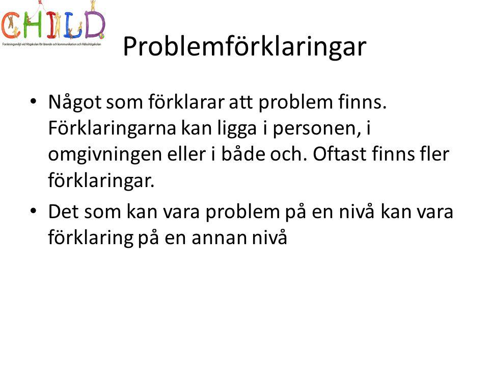 Problemförklaringar • Något som förklarar att problem finns.