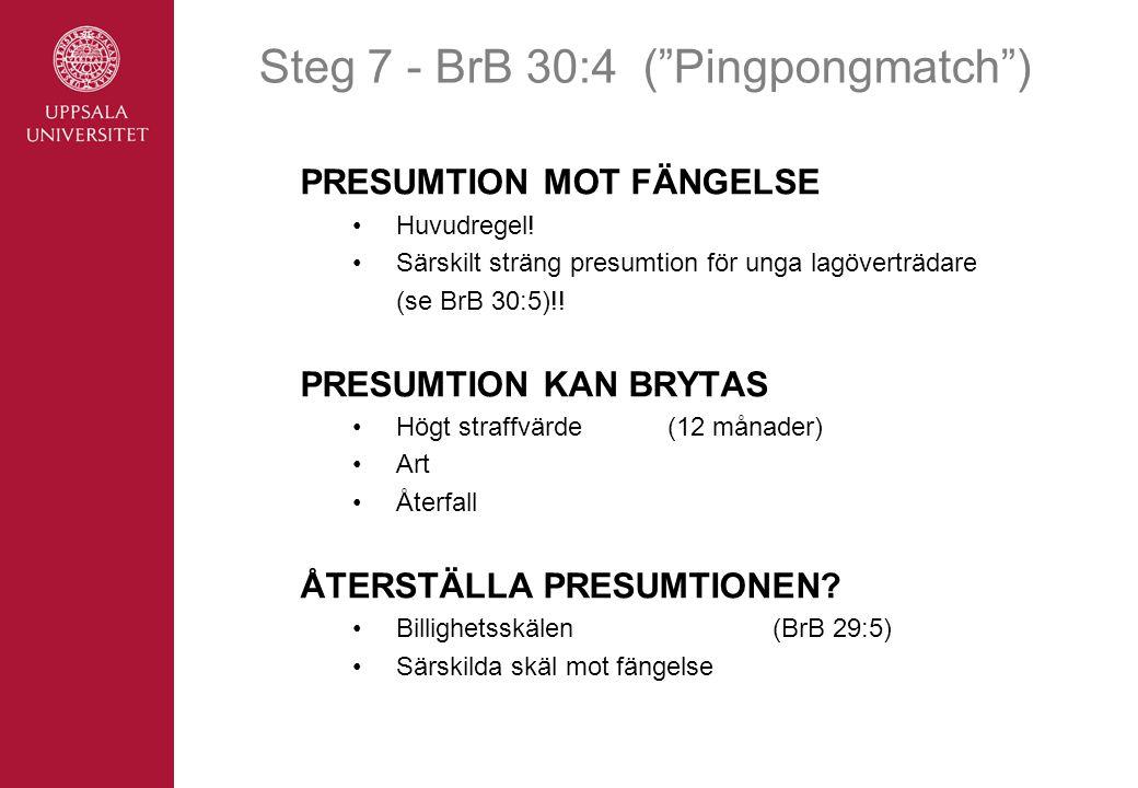 Steg 7 - BrB 30:4 ( Pingpongmatch ) PRESUMTION MOT FÄNGELSE •Huvudregel.