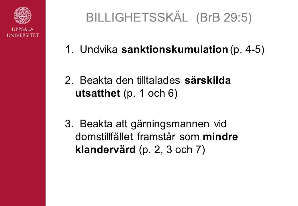 BILLIGHETSSKÄL(BrB 29:5) 1.Undvika sanktionskumulation(p.