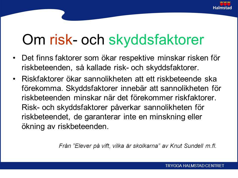 Om risk- och skyddsfaktorer •Det finns faktorer som ökar respektive minskar risken för riskbeteenden, så kallade risk- och skyddsfaktorer. •Riskfaktor