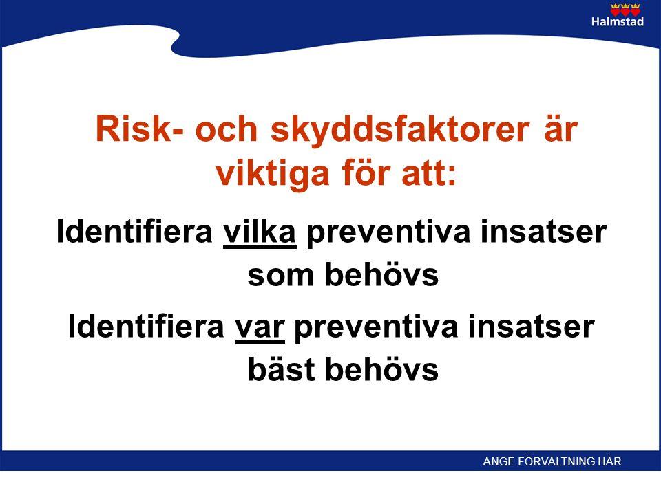 Risk- och skyddsfaktorer är viktiga för att: Identifiera vilka preventiva insatser som behövs Identifiera var preventiva insatser bäst behövs ANGE FÖR