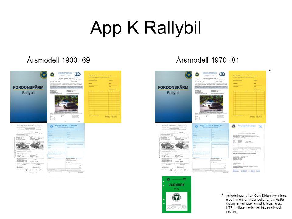 App K Rallybil Årsmodell 1900 -69 Årsmodell 1970 -81 * Anledningen till att Gula Sidan även finns med här då rallyvagnboken används för dokumentering av anmärkningar är att HTP:n tillåter tävlande i både rally och racing.