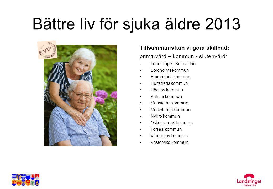 Bättre liv för sjuka äldre 2013 Tillsammans kan vi göra skillnad: primärvård – kommun - slutenvård: • Landstinget i Kalmar län • Borgholms kommun • Em