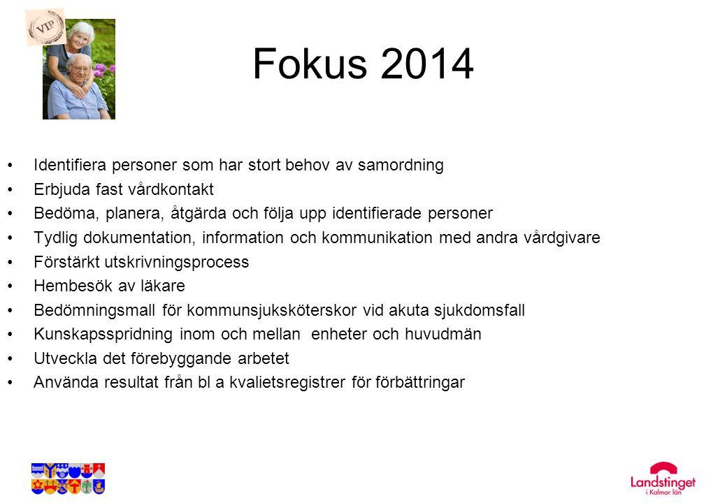 Fokus 2014 •Identifiera personer som har stort behov av samordning •Erbjuda fast vårdkontakt •Bedöma, planera, åtgärda och följa upp identifierade per