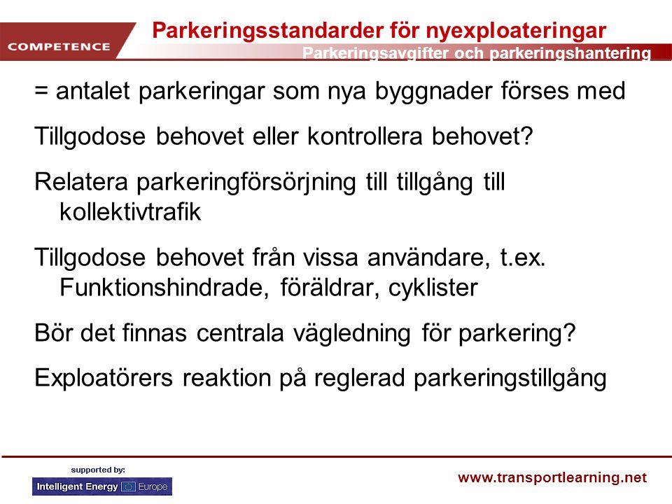Parkeringsavgifter och parkeringshantering www.transportlearning.net Parkeringsstandarder för nyexploateringar = antalet parkeringar som nya byggnader