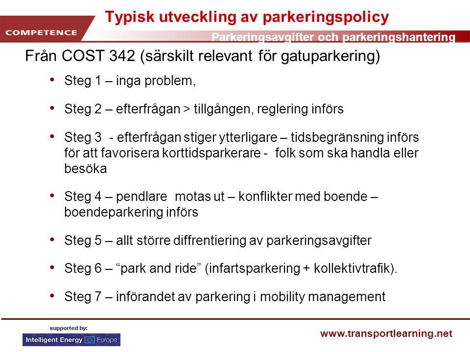 Parkeringsavgifter och parkeringshantering www.transportlearning.net Typisk utveckling av parkeringspolicy Från COST 342 (särskilt relevant för gatupa