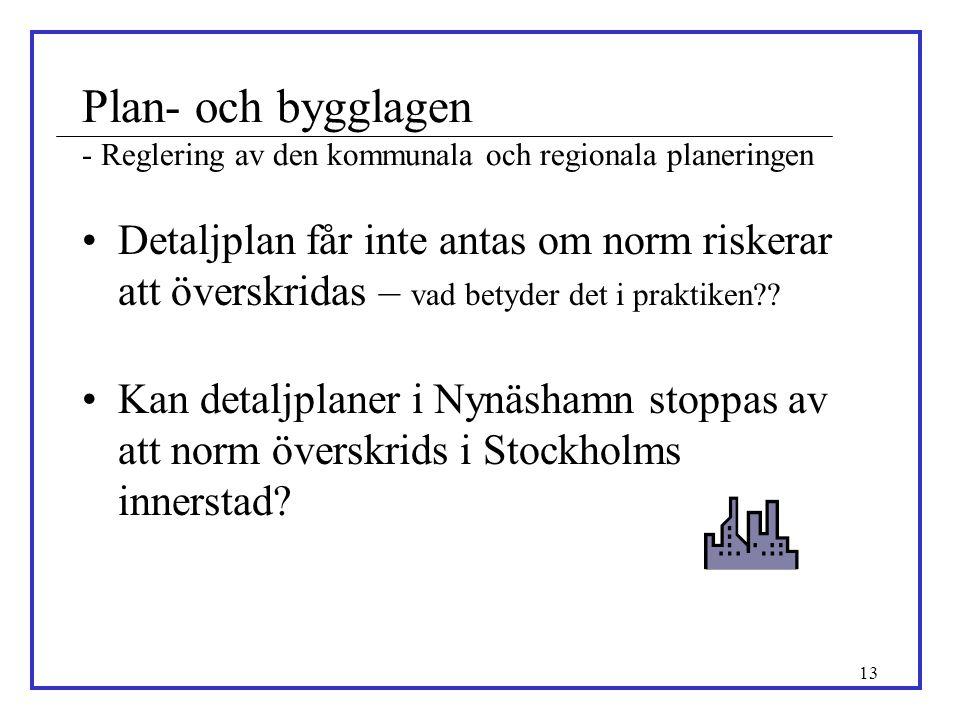 13 Plan- och bygglagen - Reglering av den kommunala och regionala planeringen •Detaljplan får inte antas om norm riskerar att överskridas – vad betyde