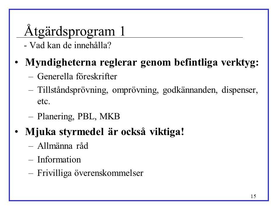 15 Åtgärdsprogram 1 - Vad kan de innehålla? •Myndigheterna reglerar genom befintliga verktyg: –Generella föreskrifter –Tillståndsprövning, omprövning,