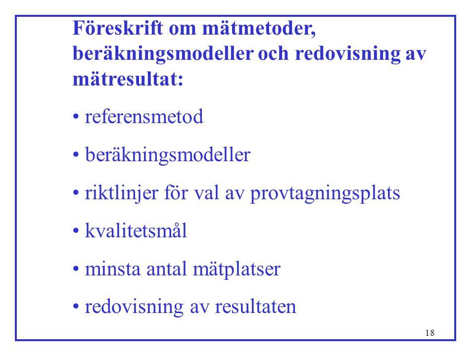 18 Föreskrift om mätmetoder, beräkningsmodeller och redovisning av mätresultat: • referensmetod • beräkningsmodeller • riktlinjer för val av provtagni