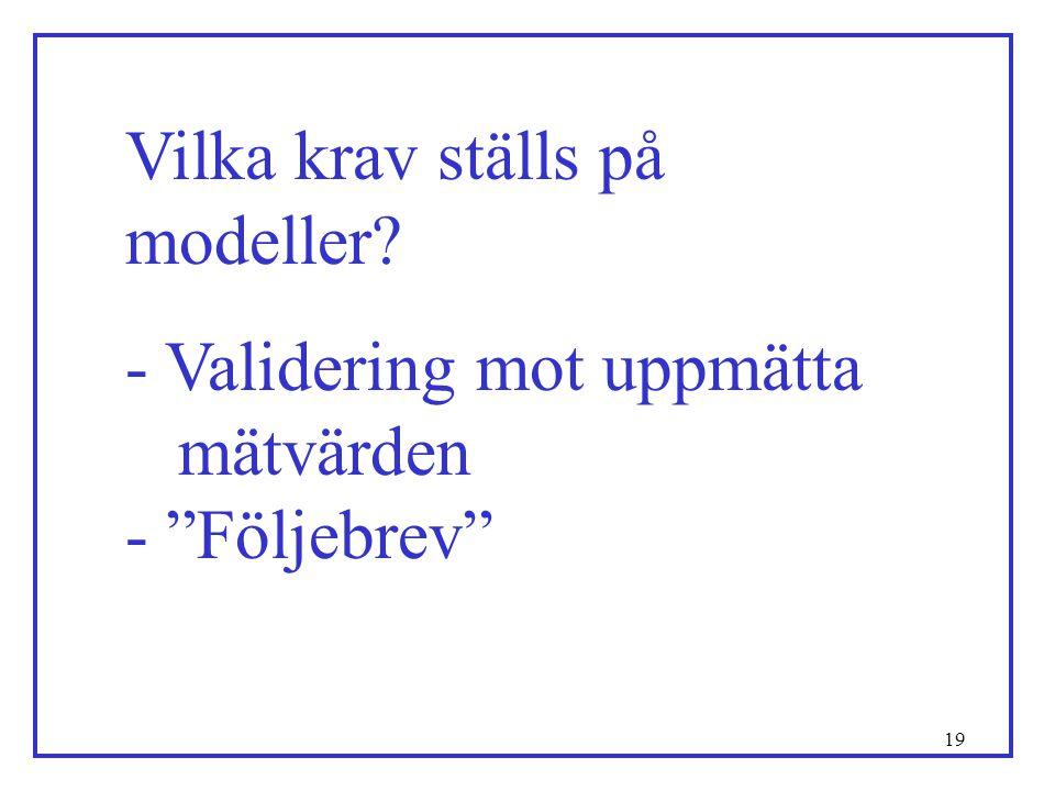 """19 Vilka krav ställs på modeller? - Validering mot uppmätta mätvärden - """"Följebrev"""""""