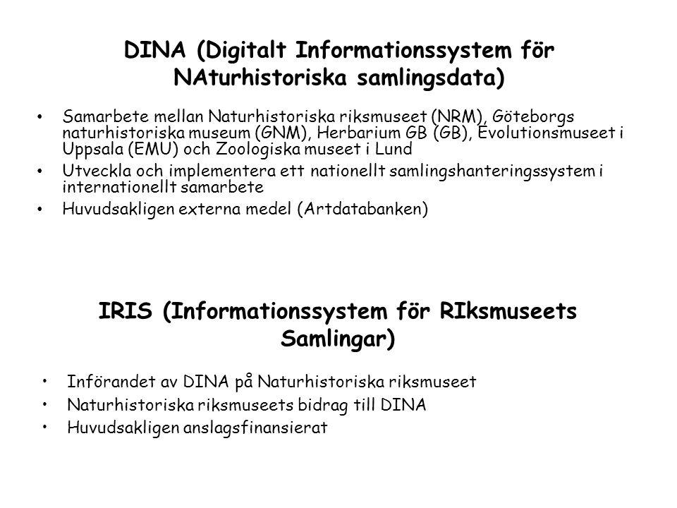 IRIS (Informationssystem för RIksmuseets Samlingar) •Införandet av DINA på Naturhistoriska riksmuseet •Naturhistoriska riksmuseets bidrag till DINA •H