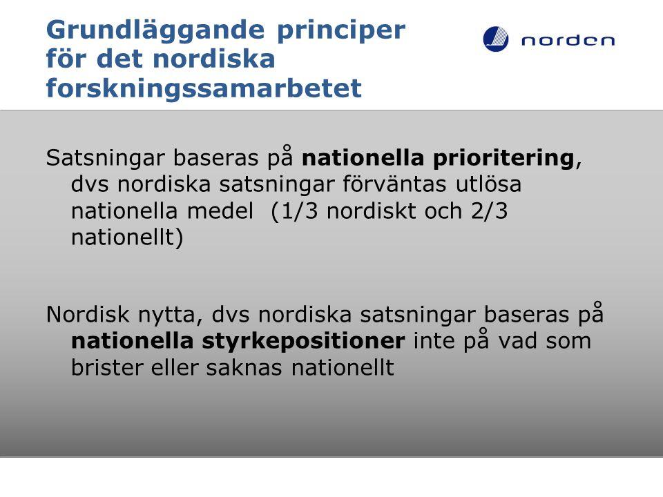 Grundläggande principer för det nordiska forskningssamarbetet Satsningar baseras på nationella prioritering, dvs nordiska satsningar förväntas utlösa