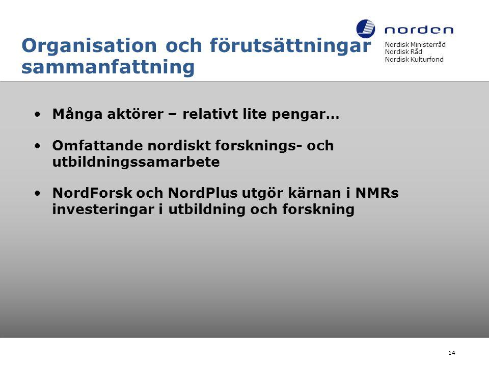 Organisation och förutsättningar sammanfattning •Många aktörer – relativt lite pengar… •Omfattande nordiskt forsknings- och utbildningssamarbete •Nord