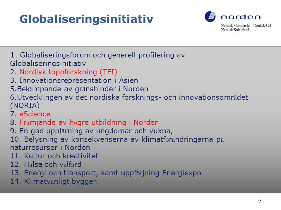 Globaliseringsinitiativ 1. Globaliseringsforum och generell profilering av Globaliseringsinitiativ 2. Nordisk toppforskning (TFI) 3. Innovationsrepres