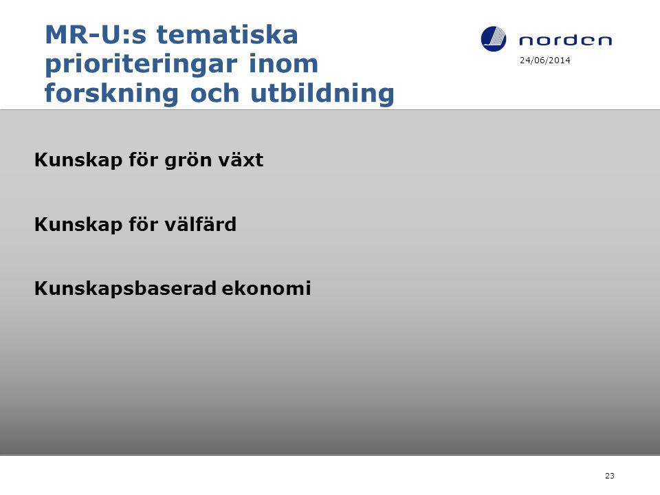 MR-U:s tematiska prioriteringar inom forskning och utbildning Kunskap för grön växt Kunskap för välfärd Kunskapsbaserad ekonomi 24/06/2014 23