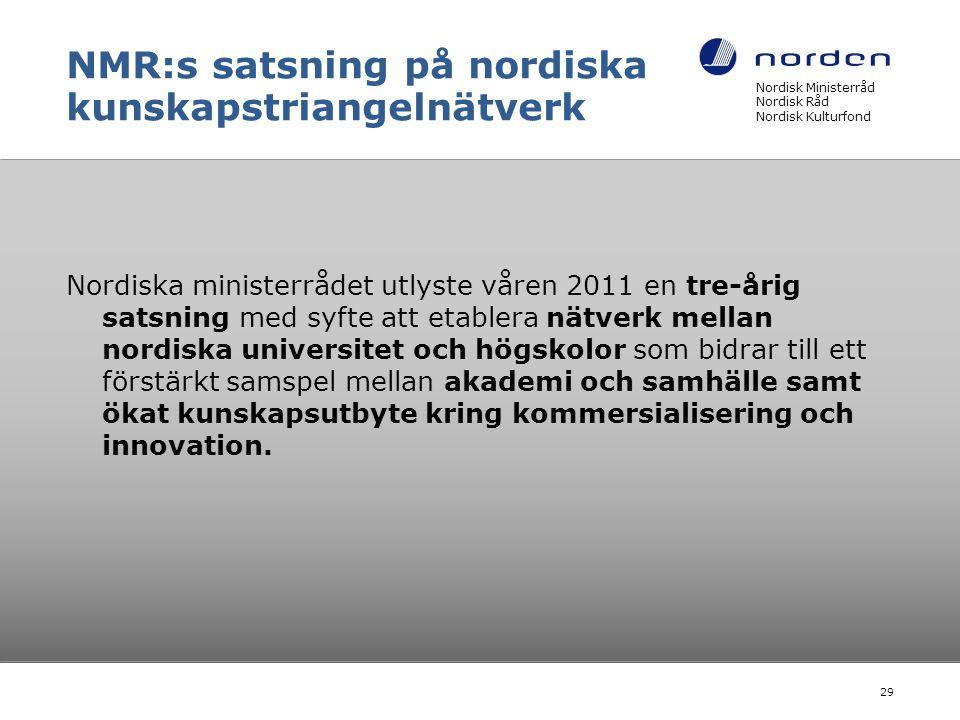 NMR:s satsning på nordiska kunskapstriangelnätverk Nordiska ministerrådet utlyste våren 2011 en tre-årig satsning med syfte att etablera nätverk mella