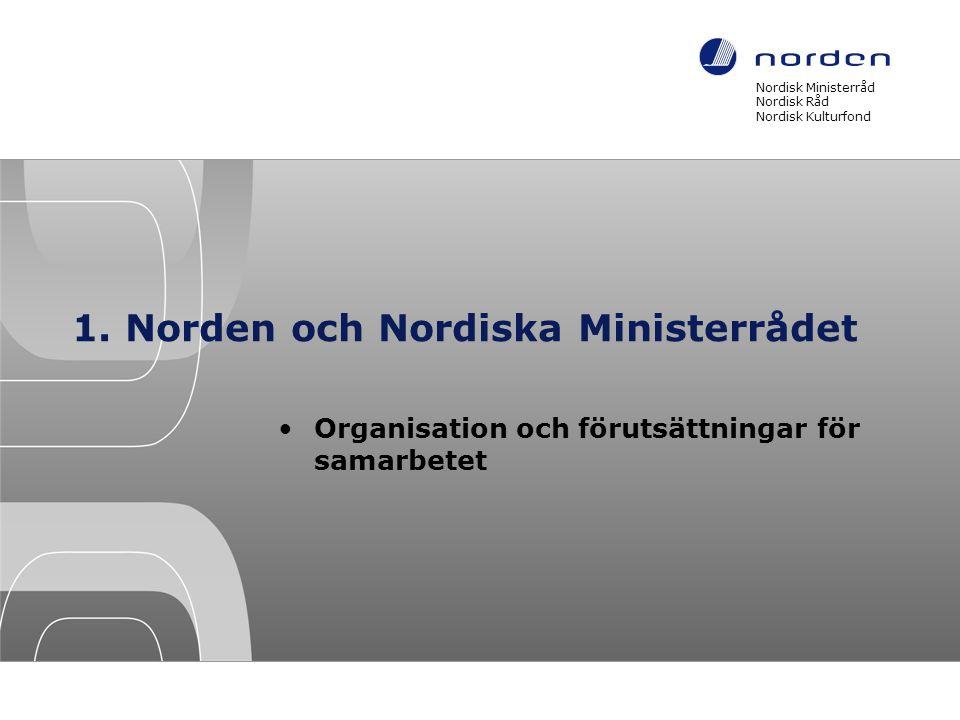 Nordisk Ministerråd Norden Fem länder •Danmark •Finland •Island •Norge •Sverige och de tre självstyrande områdena •Färöarna •Grönland •Åland Omfattar åtta tidzoner Cirka 26 miljoner invånare (2011)