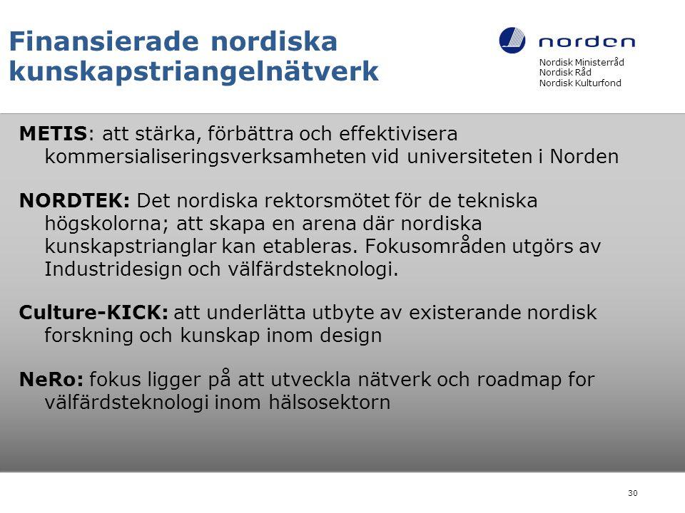 Finansierade nordiska kunskapstriangelnätverk METIS: att stärka, förbättra och effektivisera kommersialiseringsverksamheten vid universiteten i Norden
