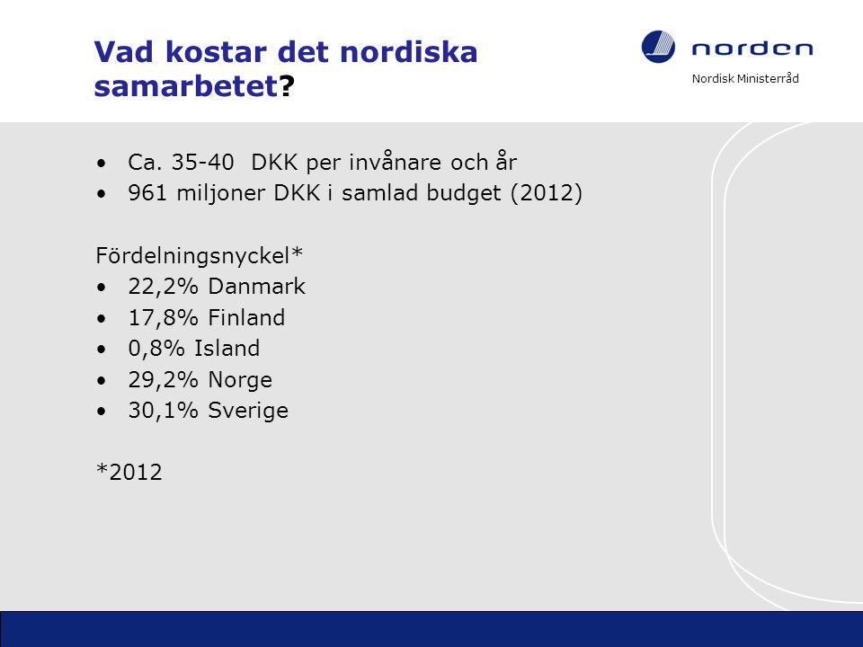 Nordisk Ministerråd Vad kostar det nordiska samarbetet? •Ca. 35-40 DKK per invånare och år •961 miljoner DKK i samlad budget (2012) Fördelningsnyckel*
