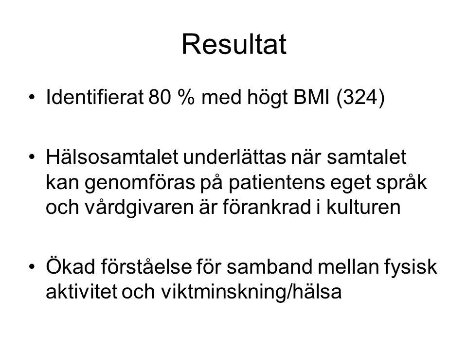 Resultat •Identifierat 80 % med högt BMI (324) •Hälsosamtalet underlättas när samtalet kan genomföras på patientens eget språk och vårdgivaren är föra