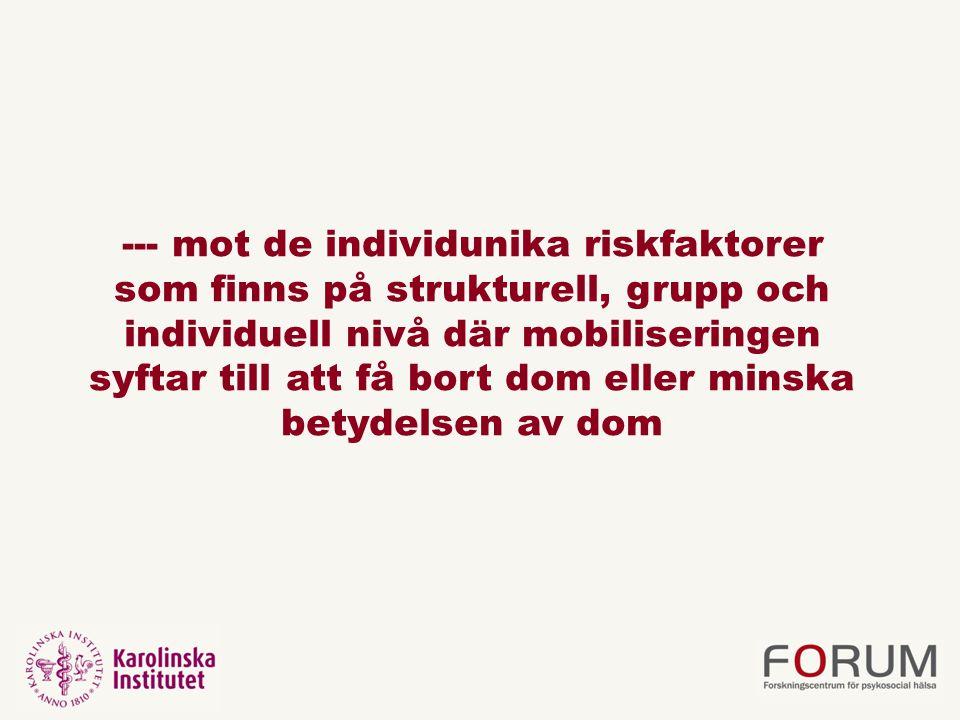 --- mot de individunika riskfaktorer som finns på strukturell, grupp och individuell nivå där mobiliseringen syftar till att få bort dom eller minska betydelsen av dom