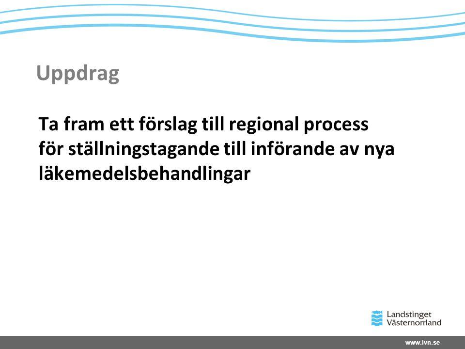 www.lvn.se Uppdrag Ta fram ett förslag till regional process för ställningstagande till införande av nya läkemedelsbehandlingar