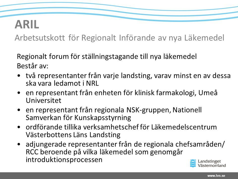 www.lvn.se ARIL Arbetsutskott för Regionalt Införande av nya Läkemedel Regionalt forum för ställningstagande till nya läkemedel Består av: •två repres