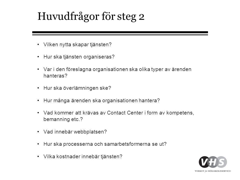 Huvudfrågor för steg 2 •Vilken nytta skapar tjänsten.