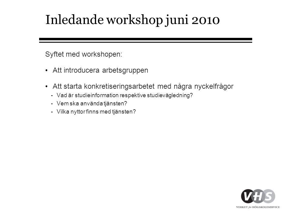 Inledande workshop juni 2010 Syftet med workshopen: •Att introducera arbetsgruppen •Att starta konkretiseringsarbetet med några nyckelfrågor -Vad är studieinformation respektive studievägledning.