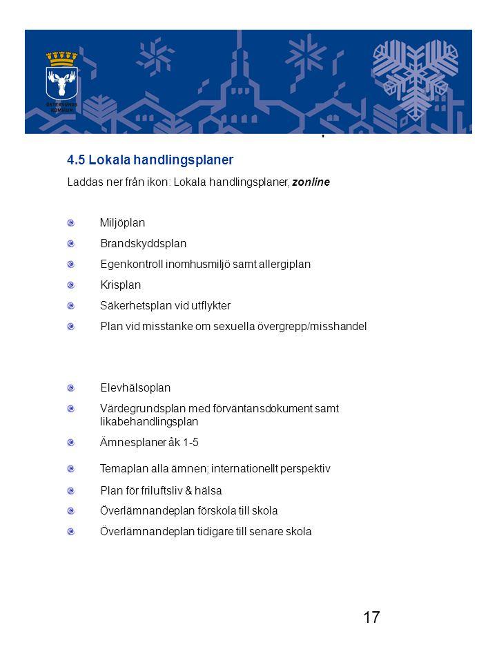 17 LOKALA HANDLINGSPLANER Finns att hämta på zonline 4.5 Lokala handlingsplaner Laddas ner från ikon: Lokala handlingsplaner, zonline Miljöplan Brands