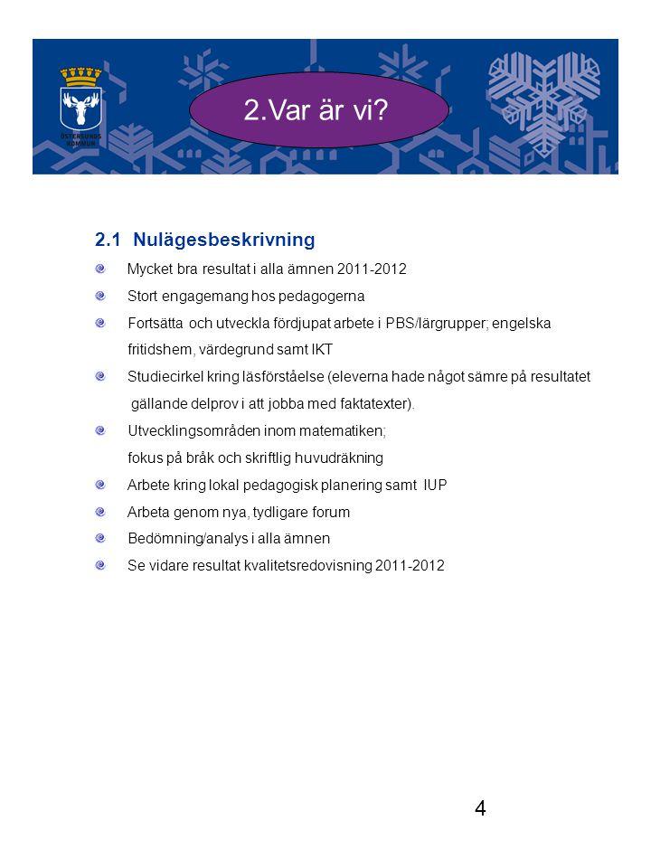 4 2.1 Nulägesbeskrivning Mycket bra resultat i alla ämnen 2011-2012 Stort engagemang hos pedagogerna Fortsätta och utveckla fördjupat arbete i PBS/lär