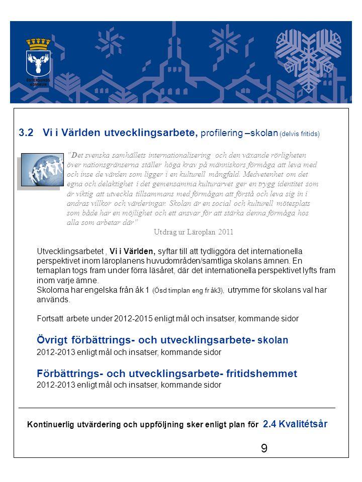 """9 3.2 Vi i Världen utvecklingsarbete, profilering –skolan (delvis fritids) """"Det svenska samhällets internationalisering och den växande rörligheten öv"""