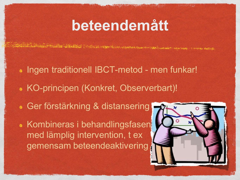 beteendemått Ingen traditionell IBCT-metod - men funkar.