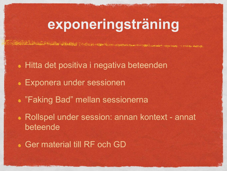 exponeringsträning Hitta det positiva i negativa beteenden Exponera under sessionen Faking Bad mellan sessionerna Rollspel under session: annan kontext - annat beteende Ger material till RF och GD