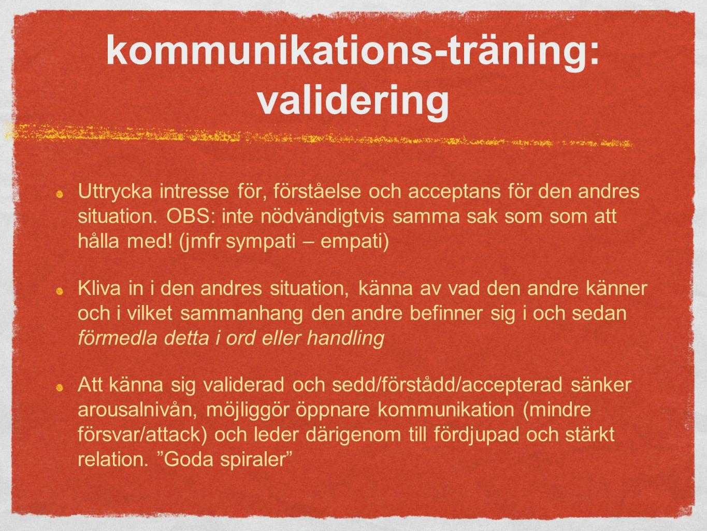 kommunikations-träning: validering Uttrycka intresse för, förståelse och acceptans för den andres situation.
