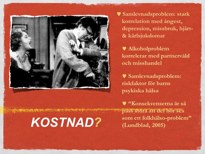  Samlevnadsproblem: stark korrelation med ångest, depression, missbruk, hjärt- & kärlsjukdomar  Alkoholproblem korrelerar med partnervåld och misshandel  Samlevnadsproblem: riskfaktor för barns psykiska hälsa  Konsekvenserna är så pass stora att det bör ses som ett folkhälso-problem (Lundblad, 2005) KOSTNAD?
