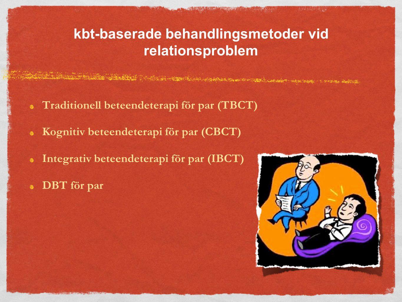 kbt-baserade behandlingsmetoder vid relationsproblem Traditionell beteendeterapi för par (TBCT) Kognitiv beteendeterapi för par (CBCT) Integrativ beteendeterapi för par (IBCT) DBT för par