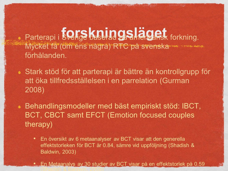 forskningsläget Parterapi i Sverige baserad på amerikansk forkning.