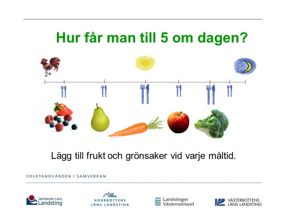 ½-3 årvarje dag, gärna vid varje måltid 4-10 år400 g frukt & grönsaker/dag >10 år500 g frukt & grönsaker/dag Vuxna 500 g frukt & grönsaker/dag Rekommendation frukt och grönsaker