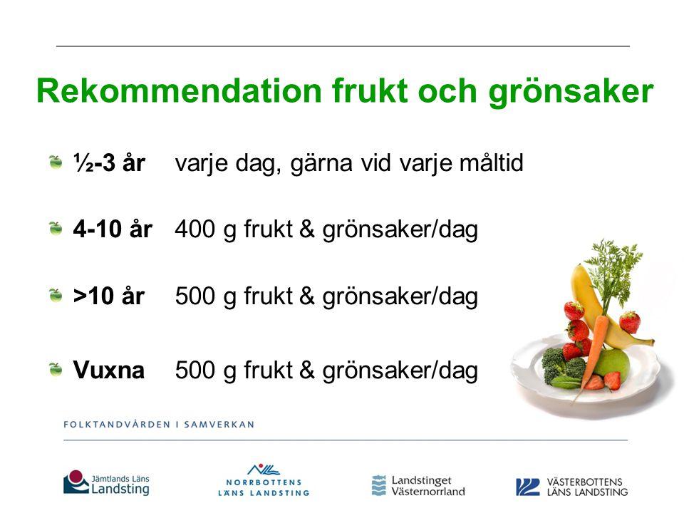 Varför mer frukt/grönsaker och mindre godis.