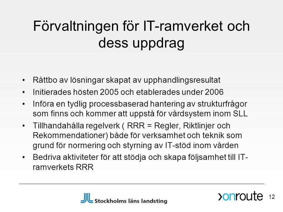 Förvaltningen för IT-ramverket och dess uppdrag •Råttbo av lösningar skapat av upphandlingsresultat •Initierades hösten 2005 och etablerades under 200