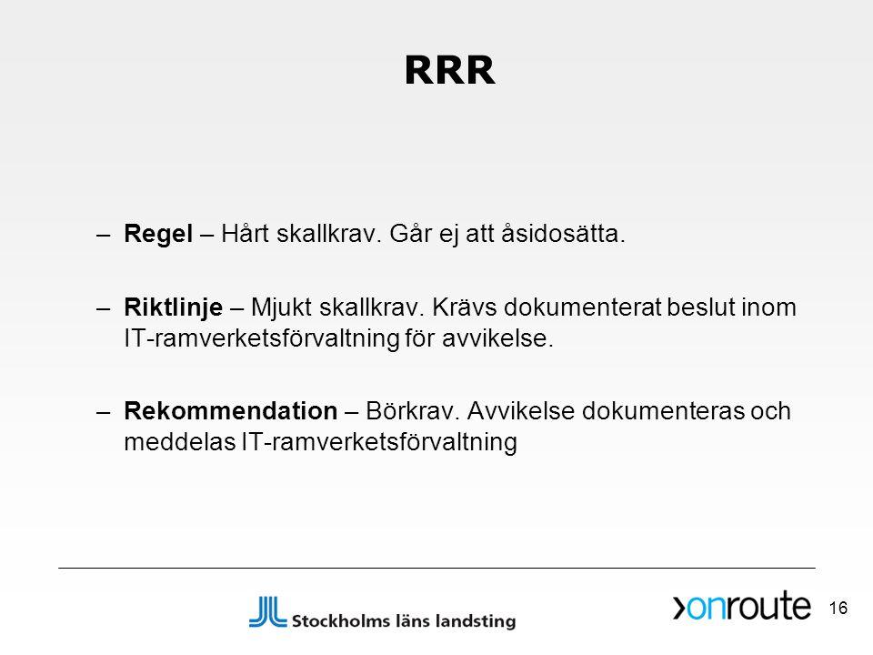 RRR –Regel – Hårt skallkrav. Går ej att åsidosätta. –Riktlinje – Mjukt skallkrav. Krävs dokumenterat beslut inom IT-ramverketsförvaltning för avvikels