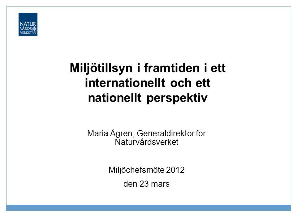 Miljötillsyn i framtiden i ett internationellt och ett nationellt perspektiv Maria Ågren, Generaldirektör för Naturvårdsverket Miljöchefsmöte 2012 den